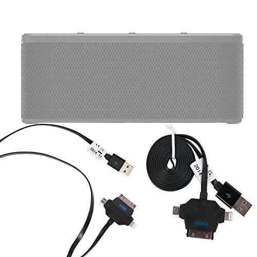 DURAGADGET Cable De Carga Y Sincronización De Datos Para Altavoz Portátil Oittm LOPOO / Omaker M6 / Otone BluWall / Pictek Bluetooth / Bomber 20W / Plusinno Ultramobile / Q7S BT36W / Qilive Q.1385 - De USB A MicroUSB / Lightning / Conexión Dock (35 Pines) - ¡3 en 1!