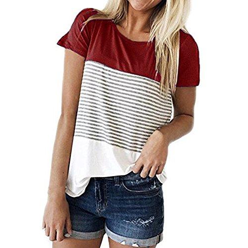 OSYARD Damen Frauen Tops T-Shirts Blusen,Frauen Kurzarm Stripe Patchwork T-Shirt Lässige Bluse Rundhals Tops Tunika Hemd ColorblockSweatshirts OberteileStreetwear (T-shirts Für Frauen, Abercrombie)