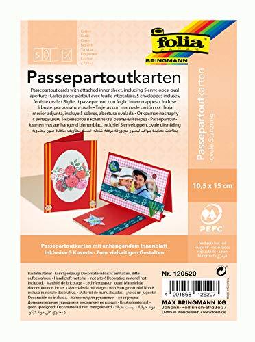 partouts mit ovaler Stanzung, ca. 10,5 x 15 cm, 5 Karten (220 g/qm) und Kuverts, hochrot - ideal für Einladungen, Glückwunsch- oder Grußkarten ()