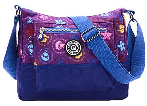 SK Studio Damen Messenger Tasche Dichtes Nylon Sport Bunt Schultertasche Mit Zip-Taschen Umhängetaschen Freizeit Violett Pilze