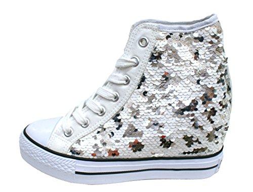 Sneakers con zeppa interna BIANCO