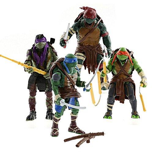 Ninja Turtles Zeichensatz 4 Action-Figuren + Zubehör - Turtle Michelangelo Ninja
