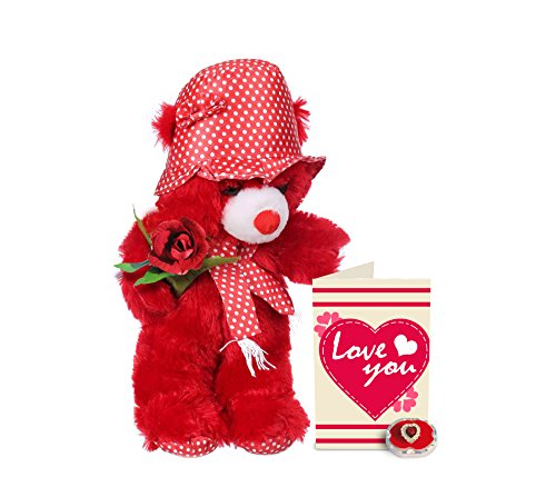 TIED RIBBONS Gift for Her Combo(Teddy(45x35)cm, finger ring, greeting card and rose)