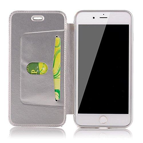 Sycode Flip Hülle für Galaxy S8 Plus,Luxus Silber Buchstil Überzug Zurück Cover mit Pu Leder Brieftasche für Samsung Galaxy S8 Plus-Silber