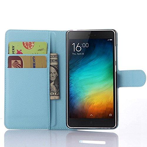 Tasche für Xiaomi Mi 4C Hülle, Ycloud PU Ledertasche Flip Cover Wallet Case Handyhülle mit Stand Function Credit Card Slots Bookstyle Purse Design blau