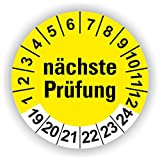 5-1.000 Stück Prüfplaketten Prüfetiketten Wartungsetiketten nächste Prüfung Ø 20mm (Gelb 120 Stück)
