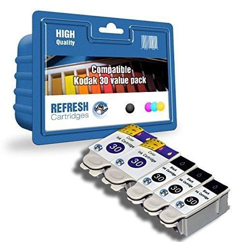 Hohe Qualität Kompatible Tintenpatrone (KOMPATIBEL KODAK 30B / 30C SCHWARZ & DREI FARBEN HOHE KAPAZITÄT PATRONEN EINZELN & MULTI PACKUNGEN BY ERFRISCHUNG PATRONEN - 3 x Schwarz & 2 x Farbe tinte Basispaket)