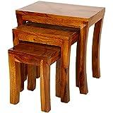 Santosha Decor Sheesham Wood Pre-Assemble Stool Nesting Bedside Table (Natural Honey Finish) - Set of 3