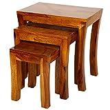 #9: Santosha Decor Pre Assemble Sheesham Wood Stool Set Of 3 Nesting Bedside Table/ Sofa Side Table /Wooden Stool Set /End Table/ Living Room Table / Study Table - Natural Honey Finish