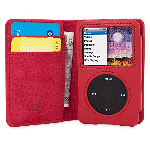 Snugg iPod Classic Hülle, Apple iPod Classic Handyhülle mit Kartenfach und Standfunktion - Rot Leder, Legacy Range Apple Ipod Rot