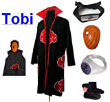 Sunkee Japanische Anime Naruto Cosplay Für Tobi Set -- Akatsuki Ninja Mantel,Größe(XXL: Höhe 185cm-190cm) + Tobi Maske +Tobi Ring+Tobi Stirnband+Ninja Schuhe