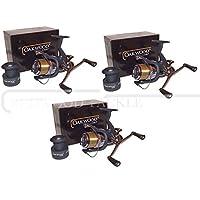 NEW Double Handle Deluxe Oakwood Carp Bait Runner Fishing Reel & Line x 3