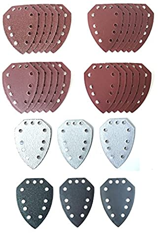 30 Mouse Sanding Sheets to fit Parkside Hand Sander PAHS 10.8 A1, PAHS 12 A1,PHS 160 A1, PHS 160 B2, PHS 160 B3, PMS 130, XQ², XQ², SE, Dimensions as PHSZ30A1, PHSZ30B2, PHSZ30C3 and