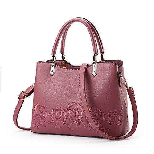 Dame Fashion Umhängetasche Handtasche Messenger Bag Rose Stickerei Temperament Weibliche Tasche D