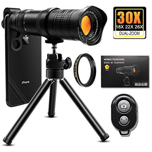 Handy Objektiv,30x Monokulare Teleobjektiv, 4K HD Telefon-Fotografie-Kit,18X-30X Einstellbarer Zoom-Teleobjektiv, Stativ für und die meisten Smartphones