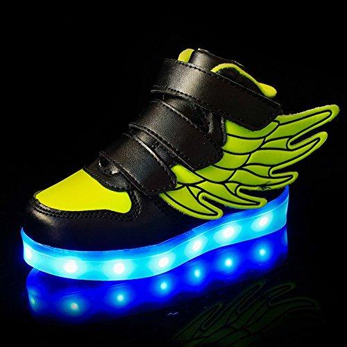 Aidonger Unisexe Enfant Baskets Lumineuses Chaussures de Sport Clignotantes avec 7 Couleurs LED Colorés USB rechargeable Style d'ailes d'ange pour Fille Garçon vert