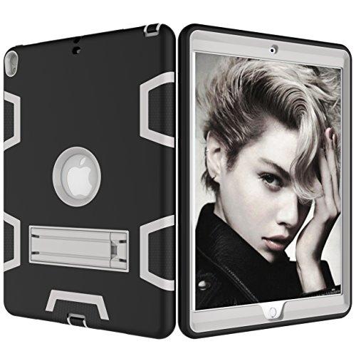 iPad Pro 10.5Cover Case, Tina 3in1PC + Silicon Ständer Funktion Robuste Stoßfest rutschfeste High stoßabsorbierenden Full Schutz für iPad Pro 26,7cm 2017veröffentlicht Tablet schwarz / grau Zebra Design Pc