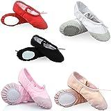 CLZ Mous Ballets Toile Danse de Split Chaussures Plates Gymnastique Doux Chaussons de Danse Gym Yoga pour les Enfants Filles Femmes Ballerines Mesdames dans différent tailles