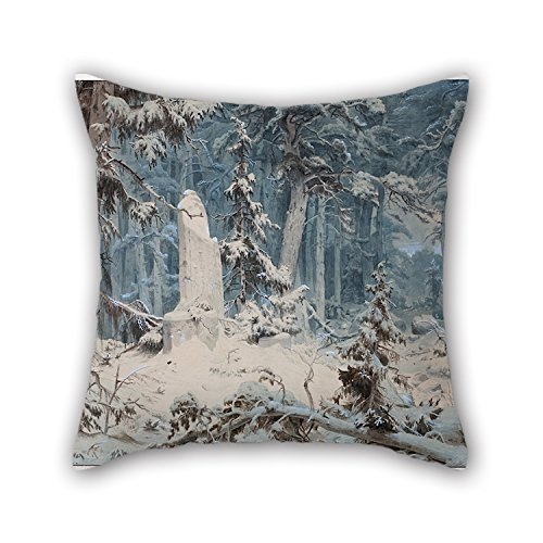 beautifulseason 16 X 16 Inches / 40 by 40 cm Oil Painting Andreas Achenbach - Snowy Forest Throw Cushion Covers 2 Sides is Fit for Father Indoor Club Dance Room Birthday Monther -