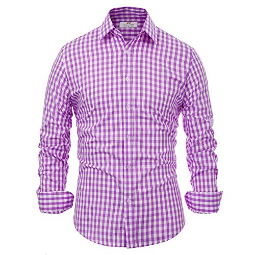 Paul JonesMen's Shirt Herren Paul Jones Beiläufiges Plaid-Kleid Shirts Mittel lila Plaid - Manschette Hemd Grün Französisch