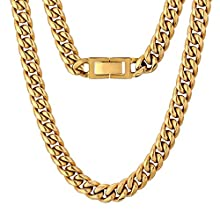 KRKC&CO Men Chain Cuban Link Chain, Curb Men Chain Necklace 18K Gold Thick Miami Cuban Chain for Men Women, Solid No Tarnish Necklace, Durable Urban Street-wear Hip Hop (10mm-18K Yellow Gold, 20)