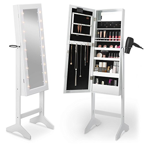 Beautify Floor Standing Make Up and Jewellery Organiser Cabinet with Mirror & LED Lights - White