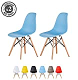 Set of 2 Modern Design Dining Chairs Eiffel Retro Lounge Chairs, LIA by MCC (Blue)
