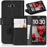 Handyhülle | Tasche | Cover | Case für das LG Optimus L9 II / D605 von DONZO in Schwarz Wallet Structure als Etui seitlich aufklappbar im Book-Style mit Kartenfach nutzbar als Geldbörse