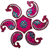 SBD Designer Instant Plastic Pink Rangoli(Dolphin Shaped Design) Decorated With Stones And Beads For Festive Season 7 Pieces Set