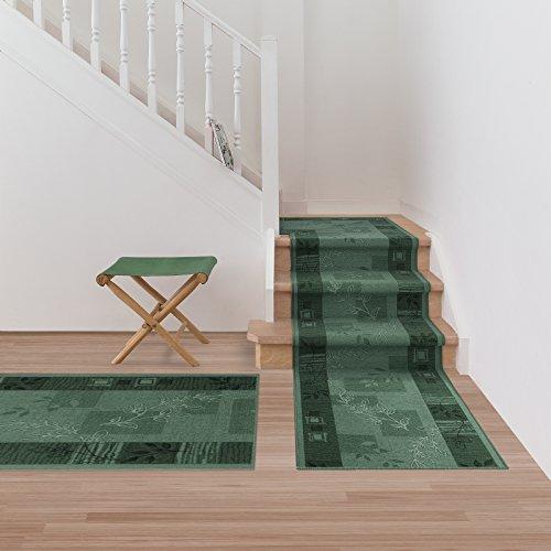 Teppichläufer Akzent | Flur Läufer/Brücke | Teppich Agadir Akzent | Rutschfest | 5 Farben | Viele Größen (Grün, 80x200 cm) -