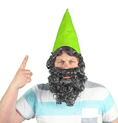 nmütze Mütze Zwerg Zwerge mit Bart Grün Kostüm ()