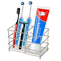 Electric Toothbrush Holder, Stainless Steel Bathroom Storage Organizer Stand Rack - Multi-Functional 5 Slots for Large Powered Toothbrush, Toothpaste, Cleanser, Comb, Razor