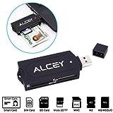 Alcey Portable All-in-One USB Smart Card Reader, unterstützt viele intelligente Karten und Speicherkarten einschließlich SD, Micro SD, MMC, M2, MS, SIM Karten ect.