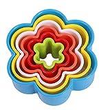 Lalang 5 teilige Weihnachts-Plätzchenausstecher Cookie Cutters Plätzchenformen Backformen Fondant Keks Ausstechformen Set Geschenkkarton (Plum Blume)