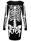 LCL-Neue Frauen Damen Halloween Knochen Skelett Drucken Bodycon Kleid Größe 34-52 (S-M ( 34-36), Schwarz)