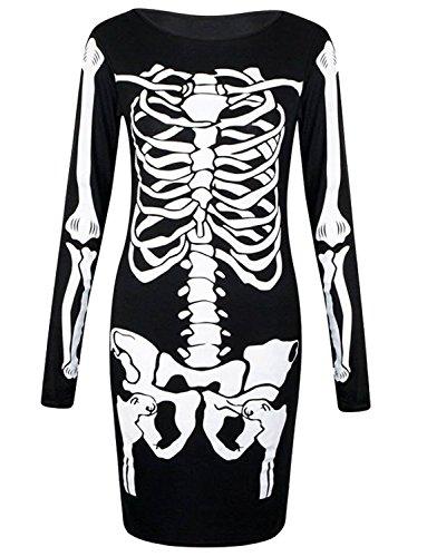 Kostüm Halloween In Kleid Schwarzes (LCL-Neue Frauen Damen Halloween Knochen Skelett Drucken Bodycon Kleid Größe 34-52 (XXL(46-48),)