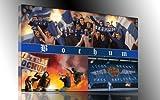 Ultras Bochum Collage, Bild auf Leinwand Panorama, fertig gerahmt, 120 x 80 cm