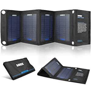 Anker 14W Solar Panel Foldable Dual-port Solar Charger for 5V USB-charged Devices Including GPS Units, iPhone, iPad, Android Phones and Android Tablets
