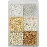 Eshoppee 3mm (8/0) 300 Gm Glass Beads, Seed Beads For Jewelry Making Art And Craft DIY Project Kit (White Family 8/0)