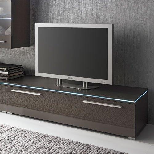 Anbauwand 5-tlg. Hochglanz grau, 2 x TV-Element, 3 x Hängeschrank, 1 x Glasbodenpaneel, Mindestbreite: ca. 240 cm, Tiefe: ca. 40 cm - 4