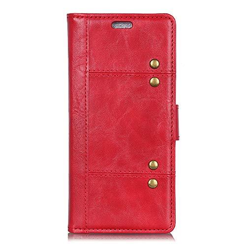 BELLA BEAR Case für Samsung Galaxy J4 Core,Halterungsfunktion,Wallet Cover,weiches Material,Metalldekoration(Rot) (Rot Care Bear)