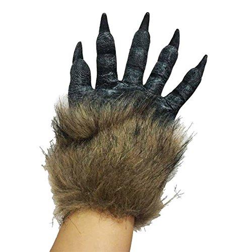 Ukallaite Let 's Party Furry Monster Werwolf Hände Handschuhe Halloween Prop Cosplay Kostüm Handschuhe Geschenk, PVC, Einfarbig, Einheitsgröße