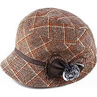 Sombrero - Old Man Hat Primavera y otoño Invierno A Cuadros Gorro de Lavabo Madre de Mediana Edad Old Abuela Sombrero Tejido de Lana Moda Casual (4 Colores) (Color : Beige)