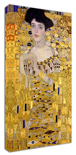 Punto Digital Klimt Ritratto di Adele Quadro Intelaiato cm.60x120 Stampa su Tela, Telaio in Legno Spessore cm.2