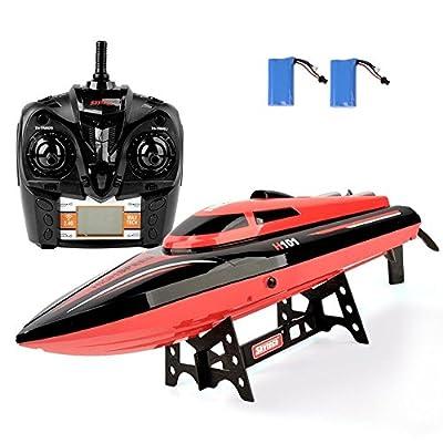 GizmoVine Télécommande Bateaux H101 Servo Moteur à Grande Vitesse 2.4GHz 30MPH avec Auto Capsize Fonction de Réinitialisation RC Speedboats pour Enfants