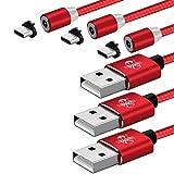 YouPei Magnetisches USB-Kabel Typ C,[1M+2M+3M] USB C-Lade- und Datensynchronisations-Ladekabel für Samsung Galaxy S9 / S8 / Note8, Huawei P20 /P10 /Mate10