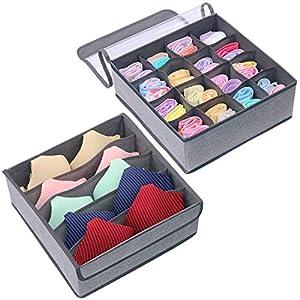 homyfort Faltbare Aufbewahrungsboxen für Büstenhalter, Unterwäsche, andere kleine Zubehörteile, 16 Zellen und 5 Zellen Schubladenteiler, Schublade/Schrank Organizer, Grau Leinen,XDS16S5