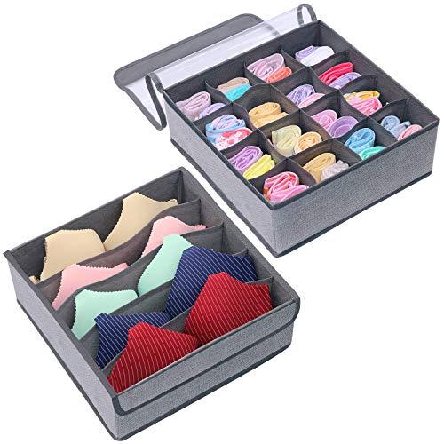 Homyfort set di 2 pezzi multiuso pieghevole tessuto non tessuto biancheria intima reggiseni shorts cravatte calzini sciarpe divisore stoccaggio scatole organizzatori, non tessuto, grigio lino, xds16s5