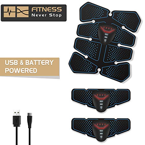 NOWKIN EMS Electroestimulador Muscular Abdominales, Recargable Entrenador Muscular con USB, Masajeador Eléctrico Cinturón para Abdomen/Brazo/Pierna/Cintura/Hombre& Mujer …