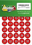100 nummerierte Klebepunkte, 25 mm, rot, aus PVC Folie, wetterfest, Markierungspunkte Kreise Punkte Zahlen Nummern Aufkleber